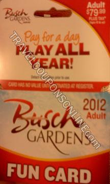 Busch Gardens Adult Fun Card Travel Coupons Online
