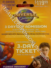 Universal Orlando 3 Day Pass coupon