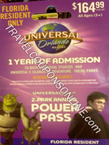 Although ticket prices are always on the rise at theme parks in Orlando, Florida Residents can still find a discount Universal Orlando Resort parks. $60 per day for Florida Residents With a 2-park, 3-day pass, you can visit for $60 per day, one park per day.